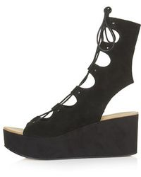 Topshop Webster Lace-Up Wedge Sandals - Lyst