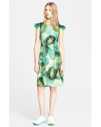 Burberry Prorsum Print Silk Blend Sheath Dress - Lyst