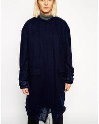 Asos White Organza Detail Wool Parka - Lyst