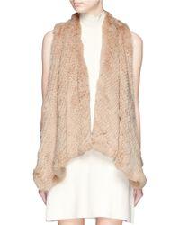 H Brand 'Audra' Drape Knit Rabbit Fur Gilet beige - Lyst