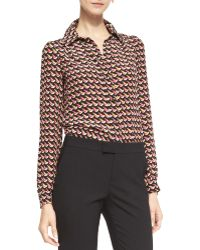 RED Valentino Long-sleeve Little Birds-print Blouse - Lyst