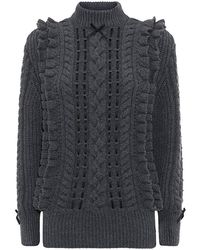 Christopher Kane Frilled Ribbon-through Cashmere Sweater - Lyst