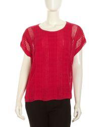 Lafayette 148 New York Short Sleeve Textured Stripe Sweater - Lyst