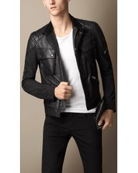 Burberry Leather Detail Racer Jacket - Lyst