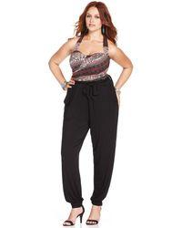 American Rag - Plus Size Halter Printed Jumpsuit - Lyst