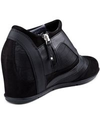 DKNY Chada Suede Wedge Sneaker - Lyst