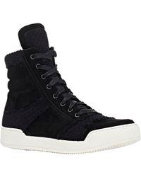 Balmain Basketweave-Overlay High-Top Sneakers - Lyst