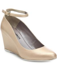 Aquatalia by Marvin K Sandy Leather Ankle-Strap Wedge Pumps - Lyst