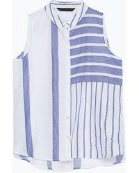 Zara Striped Shirt blue - Lyst