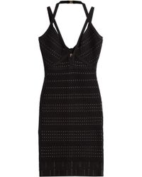 Hervé Léger Bandage Dress With Cut-Out Detail - Lyst