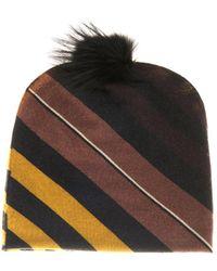 Fendi Fur-pompom Wool Beanie - Lyst