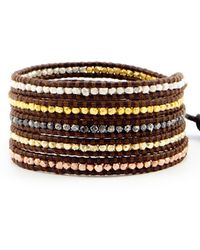 Chan Luu - Nugget Wrap Bracelet On Brown Leather - Lyst
