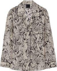 Anna Sui Printed Silk-Crepe Shirt - Lyst