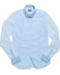 Patrizia Pepe Long Sleeve Slim-Fit Shirt In Striped Cotton Poplin - Lyst