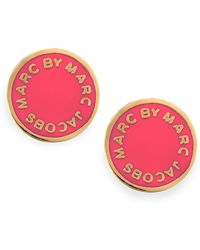 Marc By Marc Jacobs - Enamel Logo Disc Stud Earrings Hot Pink - Lyst