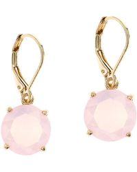 Anne Klein - Powder Pink And Goldtone Drop Earrings - Lyst