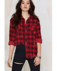 Nasty Gal | After Party Vintage Put A Pin In It Flannel Shirt | Lyst