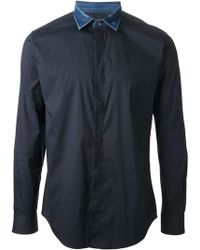 Diesel Blue Contrast Shirt - Lyst