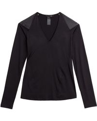 Donna Karan New York Jersey Top With Sheer Mesh Inserts - Lyst