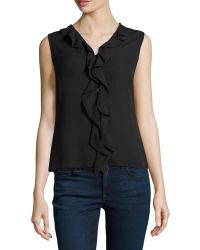 Laundry By Shelli Segal Buttonfront Frill Top - Lyst