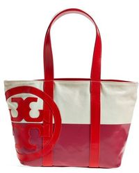 Tory Burch Small Canvas Logo Tote - Lyst