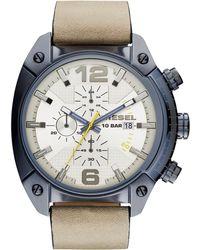 Diesel Men'S Chronograph Overflow Light Brown Leather Strap Watch 54X49Mm Dz4356 brown - Lyst