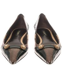 Dolce & Gabbana Bellucci Leather And Ayers-Snakeskin Flats - Lyst