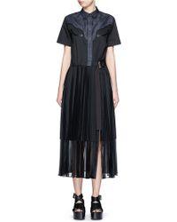 Sacai | Denim Yoke Side Split Shirt Dress | Lyst