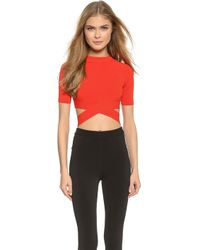 T By Alexander Wang Matte Knit Crisscross Top - Paprika - Lyst
