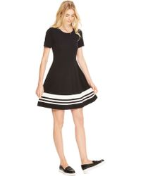 DKNY Fit And Flare Stripe Dress - Lyst