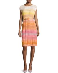 Missoni Ombre Textured-Knit Belted Dress - Lyst