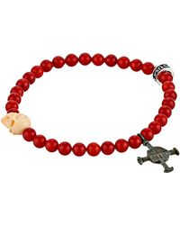 King Baby Studio 6mm Red Coral Bead Bracelet W Conch Carved Skull and Authentic Medival Cross - Lyst