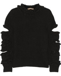 Christopher Kane Cutout Ruffled Cashmere Sweater - Lyst