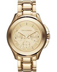Karl Lagerfeld Women'S Karl 7 Klassic Gold Ion-Plated Stainless Steel Bracelet Watch 39Mm Kl2404 - Lyst