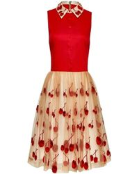 Alice + Olivia Cherry Collared Sleeve Pouf Dress - Lyst