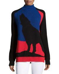 Risto Blue Moon Wolf Sweater blue - Lyst