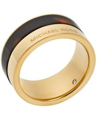 Michael Kors Gold-Tone And Tortoise-Acetate Ring gold - Lyst