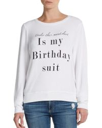 Wildfox Birthday Suit Graphic Top - Lyst