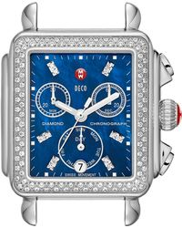 Michele - Deco Diamond Blue Dial Watch Head - Lyst