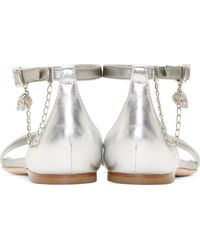 Alexander McQueen Silver Leather Skull Chain Sandals - Lyst