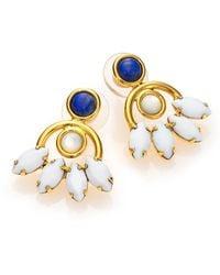 Lizzie Fortunato Oaxaca Blossom Lapis & Mother-Of-Pearl Drop Earrings - Lyst