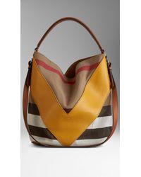 Burberry Medium Leather Chevron Canvas Check Hobo Bag - Lyst