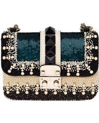 Valentino Glam Lock Embellished-Leather Shoulder Bag - Lyst