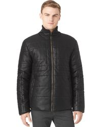 Calvin Klein Pattern Blocking Fauxleather Puffer Jacket - Lyst