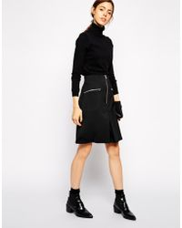 Asos A-Line Skirt With Zip Detail - Lyst
