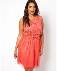 AX Paris Curve Net Crochet Flower Dress - Lyst