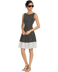 Lauren by Ralph Lauren Petite Sleeveless Polka-Dot Dress - Lyst