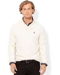 Polo Ralph Lauren French-Rib Shawl Sweater - Lyst