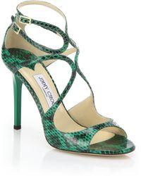 Jimmy Choo Lang Snakeskin Sandals - Lyst