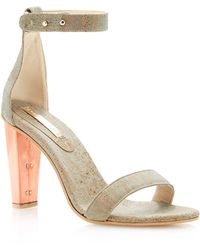 Sydney Brown - Slate Cork and Brushed Copper Open Toe Heel - Lyst